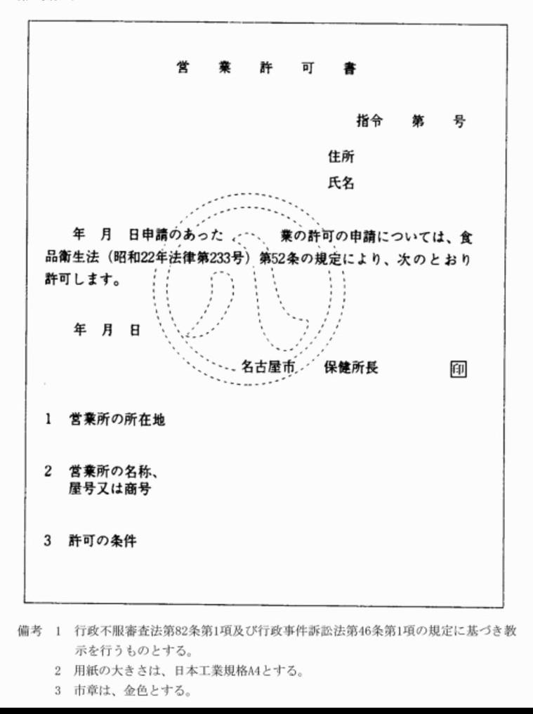 名古屋市が食品衛生法の許可営業...